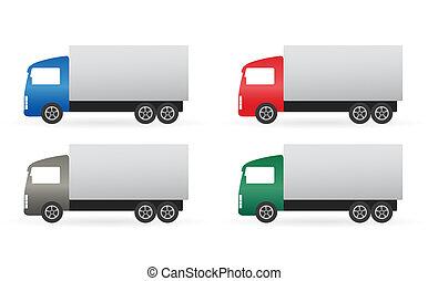 satz, lastwagen, freigestellt, bunte