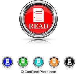 satz, lesen, sechs, -, farben, ikone
