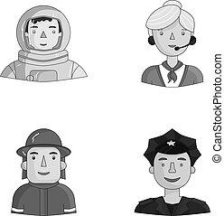 satz, leute, cap., raumanzug, monochrom, helm, verschieden, ...