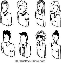 satz, leute, /, vektor, charaktere, lineart, ikone