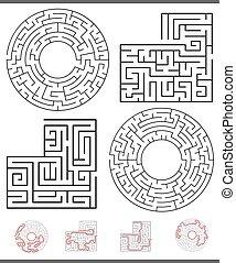 satz, linien, freizeit, spiel, grafik, labyrinth