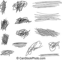 satz, linien, schläge, vektor, schwarz, bürste, kritzeln, white.