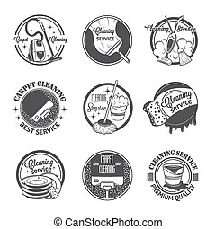 satz, logos, weinlese, etiketten, putzen, dienstleistungen, abzeichen