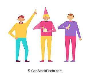 satz, maenner, drei, zusammen, geburtstagparty, feiern