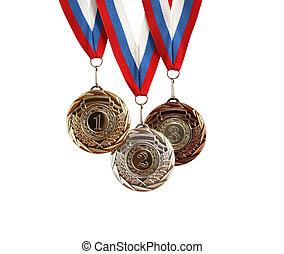 satz, medaillen