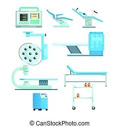 satz, medizin, modern, ausrüstung, vektor, prüfung, illustrationen