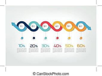 satz, mega, pfeile, infographic, verschieden, concepts.