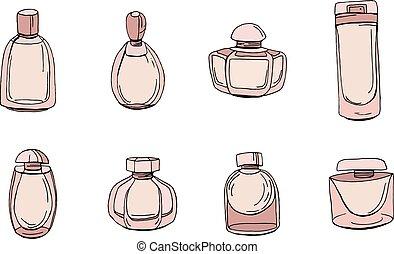 satz, mit, flaschen, von, frau, parfüm, freigestellt, auf, white., gegenstände, weiß, hintergrund, für, mode, design.