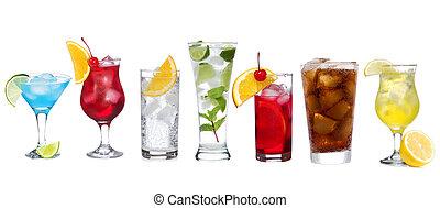 satz, mit, verschieden, cocktails