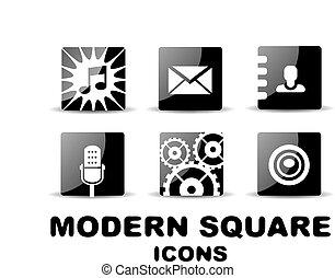 satz, modern, quadrat, schwarz, glänzend, ikone