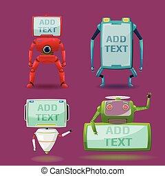 satz, monitor, zeichen, roboter, sammlung, vektor