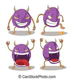 satz, monster, isolieren, vektor, violett, karikatur