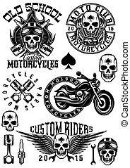 satz, motorräder, logos, thema, vektor, design, abzeichen, schädel, elemente