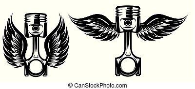 satz, muster, thema, vektor, motorrad, monochrom, kolben, flügeln