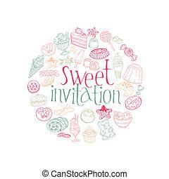 satz, nachtische, süßigkeiten, vektor, kuchen, karte, -invitation
