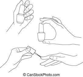 satz, nagel, vektor, polnisch, womens, hände, nagelkosmetik