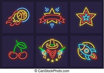 satz, neon, heiligenbilder