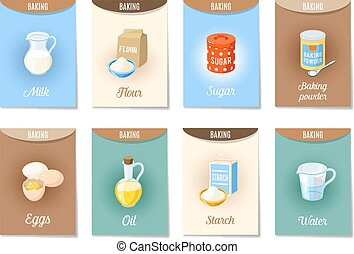 satz, package-, ad-cards, wasser, etikette, milch, bestandteile, stärke, -, freigestellt, eier, 10., mehl, pulver, sugar., weißes, karikatur, -banners, backen, abbildung, oel, eps, vektor