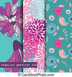 satz, pattern., seamless, theme., drei, blumen, vögel