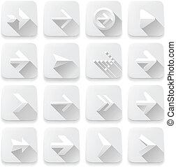 satz, pfeile, heiligenbilder, weißes, app, tasten, netz- design, elements.