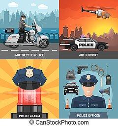satz, polizei, gefärbt, ikone