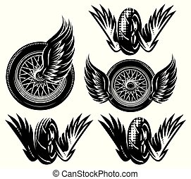 satz, rad, muster, thema, vektor, motorrad, monochrom, flügeln