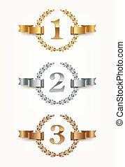 satz, -, rang, gold, embleme, silber, bronze