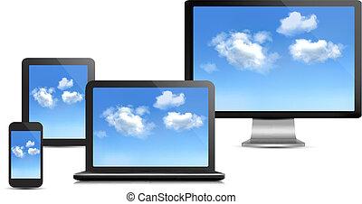 satz, rechnen, concept., edv, vector., devices., wolke