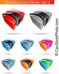 satz, reihe, abstrakt, -, 3, ikone, 3d