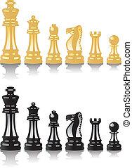 satz, schach, vektor, stücke