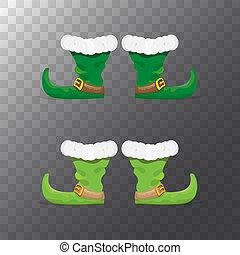 satz, schuhe, weihnachtshelfer, freigestellt, sammlung, karikatur, hintergrund., funky, vektor, grün, stiefeln, weihnachten, durchsichtig, ikone