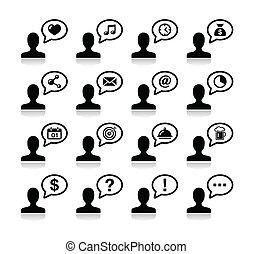 satz, schwarz, benutzer, kommunikation, heiligenbilder