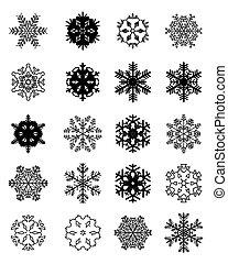 satz, schwarz, schneeflocken