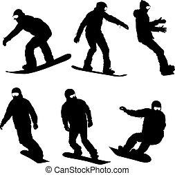satz, schwarz, silhouetten, snowboarders, weiß, hintergrund., vektor, abbildung
