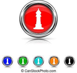 satz, sechs, -, farben, schach, ikone