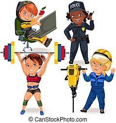 satz, secutiry, berufe, weibliche , m�dchen, polizei, arbeiter, uniform, sicherheit, feministinnen, frau, macht, abbildung, not, starke , heben, bauunternehmer, programmierung, offizier, vektor, offizier, code