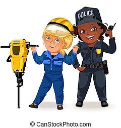 satz, secutiry, hart, berufe, radio, weibliche , polizei, uniform, m�dchen, sicherheit, besitz, feministinnen, frau, arbeiter, abbildung, not, starke , bauunternehmer, vektor, offizier, erbauer