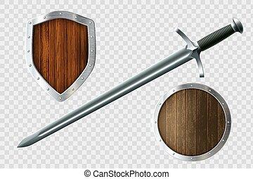 satz, shields., schwert, arms., mantel