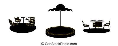 satz, silhouette, illustration., hintergrund., vektor, schwarz, schwingen, weißes