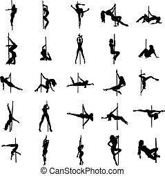 satz, silhouette, stripper