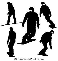 satz, snowboarders, silhouettes., vektor, illustration.