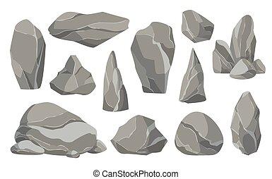 satz, spiel, abbildung, stones., schaden, groß, steinen, icons., rubble., flache kunst, oder, klein, steine, design, vektor, architektur, angehäuft, ledig