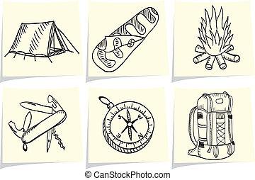 satz, stöcke, camping, memo, gelber , ausrüstung, draußen