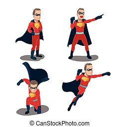 satz, superhero, zeichen, handlungen, vektor, karikatur