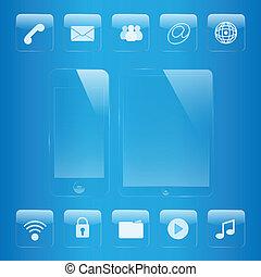 satz, tablette, telefon, beweglich, glas, schnittstelle, ikone