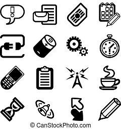 satz, telefon, beweglich, reihe, gui, anwendungen, ikone