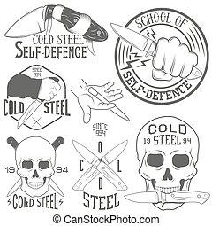 satz, totenschädel, weinlese, abbildung, embleme, vektor, menschliche , knife., monochrom, style.