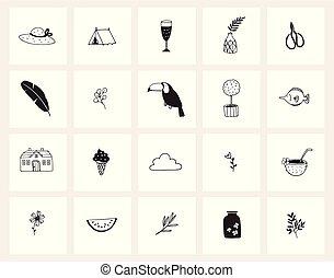 satz, urlaub, betriebe, objects., design., web, gekritzel, concept., freigestellt, schwarz, gezeichnet, weißes, sketches., getränk, tiere, icons., lebensmittel, linie, hand, lebensstil, vektor, reise, illustrationen, sommer, art.