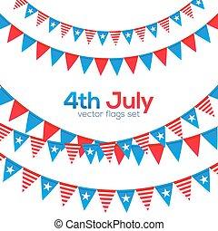 satz, usa, seile, dreieckig, vektor, flaggen, viert, juli,...