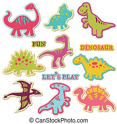 satz, ?ute, -, dinosaurierer, vektor, design, sammelalbum, elemente
